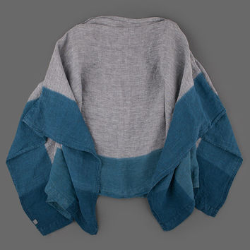 MILL MERCANTILE - Grei. - Linen Dip Dyed Poncho in Grey and Indigo