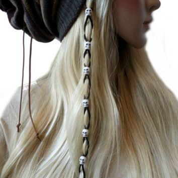 White Skull Bead Black Suede Leather Skull Bead Hair Ties, Hair Wrap, Jewelry, Ponytail, Leather Bead Braided Hair Ties