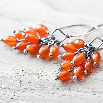 Orange Carnelian Earrings, bright orange earrings, organic berries cluster, semiprecious stone, oxidized silver jewelry, nature inspired
