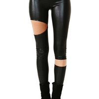 ROMWE Cut-out Black Faux Leather Leggings