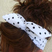 Dolly Bow White with Black Polka Dots Wire Headband Teen Girl Woman