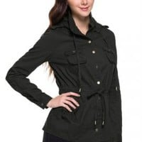 Street Trends Military Utility Jacket in Black | Sincerely Sweet Boutique