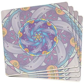 DCCKU3R Mandala Trippy Stained Glass Dolphins Set of 4 Square SandsTone Art Coasters