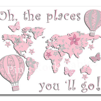 Oh the places you'll go world map nursery artwork kids room art dr Seuss quote playroom wall decor toddler gift pink hot air balloon map