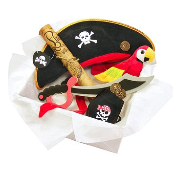 Childrens Pirate Costume Box with Pirate Sword, Treasure Map & Other Pirates Accessories for Kids