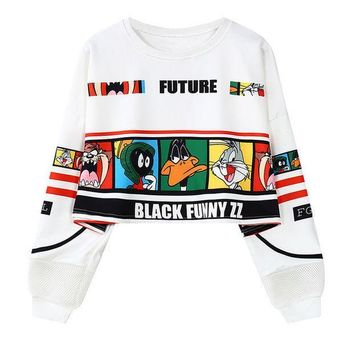 PEAPOK2 Digital Looney Tunes  Cropped  Sweatshirt
