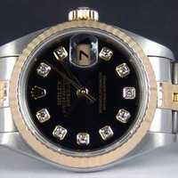 ROLEX - Ladies 18kt Gold & SS Black DIAMOND DateJust - 79173 SANT BLANC