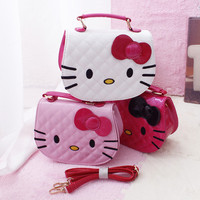 Hot Fashion Hello Kitty Bow Messenger Bag For Girls PU Leather Crossbody Shoulder Bag Handbags Flap Bags High Quality