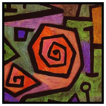 Heroic Roses detail by Expressionist Artist Paul Klee Counted Cross Stitch or Counted Needlepoint Pattern