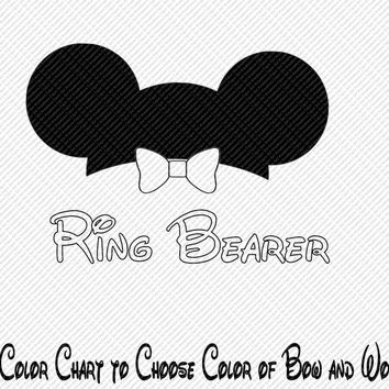 Ring Bearer Wedding Bride Groom Party Mickey Mouse Ears Choose Your Color Printable Iron On Transfer Clip Art DIY Tshirts ITEM12