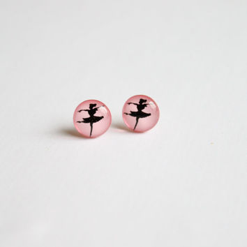 10 mm small ballerina earrings, ballet dancer earrings, stud earrings, pink earrings, pink studs,small studs, small stud earrings
