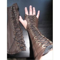 Steampunk Brown Black Gothic Leather Arm Bracers Medieval Lace Up Cosplay Costume Accessory