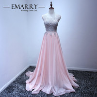New Arrival 2017 O Neck Tulle Pink A Line Long Prom Dress Appliques Special Occasion Dresses Party Gowns Evening Dress
