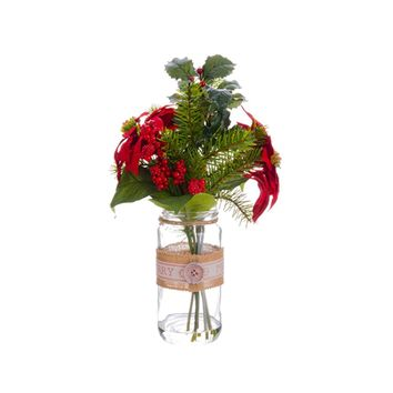 """16.5"""" Artificial Red Poinsettia  Holly and Pine Christmas Arrangements with Glass Vase"""