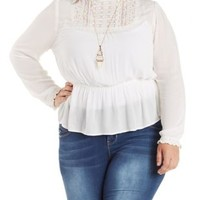 Plus Size Ivory Crochet High-Neck Top by Charlotte Russe