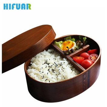 HIFUAR Wooden Lunch Handmade Boxes Japanese Style Sushi Bento Lunchbox for Kids School Outdoor Dinnerware Bowl Food Container