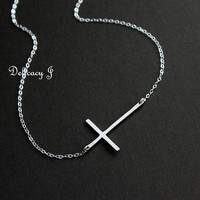 Kelly Ripa sideways cross necklace in STERLING SILVER, Skinny cross necklace celebrity inspired Simple cross jewelry