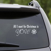 Car Hood Decal Happy New Year Wall Decal Merry Christmas Decal All I Want for Christmas is You Car Vinyl Sticker Quotes Bedroom Decor KY162