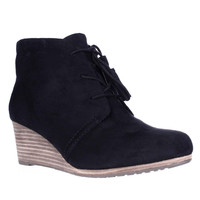 Dr. Scholls Dakota Wedge Lace Up Ankle Booties - Black