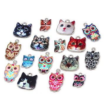 Multi size hole1.5/2mm Owl Cat 2 4 6pcs Fit DIY Necklace Bracelet Pendant Enamel Spacer Bead Charm For Jewelry Findings Making