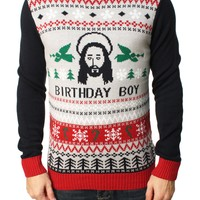 Ugly Christmas Sweater Men's Jesus Birthday Boy Pullover Sweater