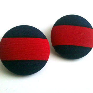 Navy blue and red stripes button earrings