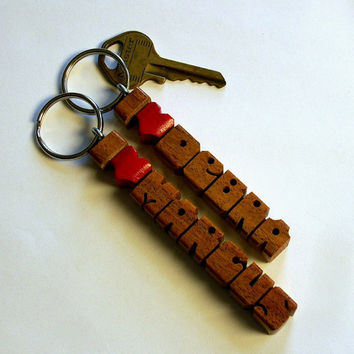 Mesquite Wood Name - iHeart Keychain - Carved to Order in the USA