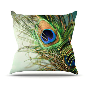 "Sylvia Cook ""Teal Peacock Feather"" Throw Pillow"