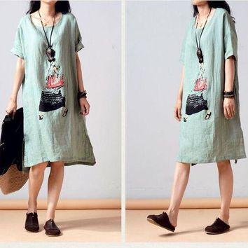 PEAPIX3 Summer Plus Size Short Sleeve Cotton Linen Print Dress One Piece Dress [4919720708]