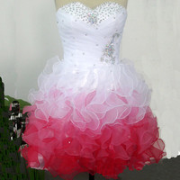 Cute Sweetheart Beaded Organza Short Prom Dress, Bridesmaid Dress,Bridesmaid Gown,Prom Dress,Evening Dress