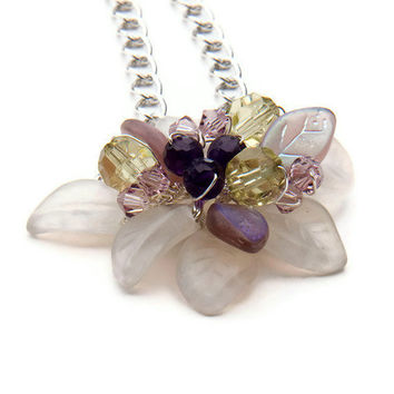 Green Violet Beaded Necklace, Flower Necklace, Pendant Necklace, Bridal Jewelry Amethyst crystals and leaves