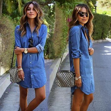 2017 Fashion Blue Denim Spring Summer Dress Women's Casual Loose Straight Dress Long Sleeved Turn-down Collar Dresses Plus Size