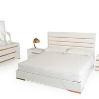Nova Domus Juliet Italian Modern White & Rose Gold Bedroom Set