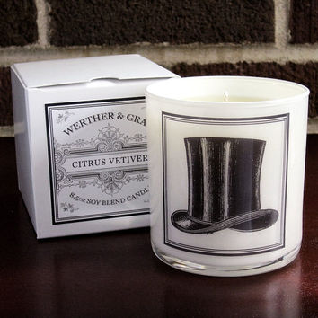 CITRUS VETIVER Candle with Box, 9oz Tumbler, White Lantern Series, Werther + Gray, Top Hat Label, Vintage Style Soy Blend Scented Candle