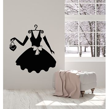 Vinyl Wall Decal Little Black Dress Woman Fashion Studio Clothes Shopping Stickers Mural (g683)