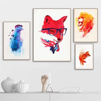 Watercolor Wolf Lion Fox Pigeon Wall Art Canvas Painting Nordic Posters And Prints Animal Wall Pictures For Living Room Decor