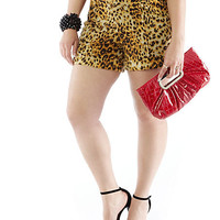 Plus-Size Leopard Knit Shorts - Rainbow