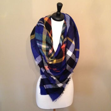 True Blue Blanket Scarf by KnitPopShop