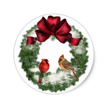 Christmas Bird Wreath Classic Round Sticker