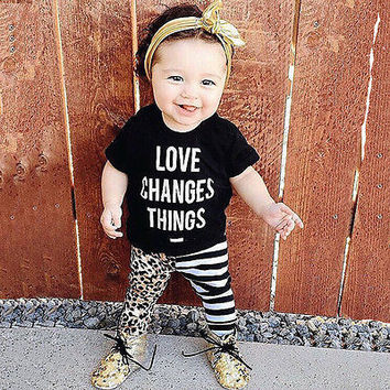 2016 Newborn Toddler Baby Boys Girls Toddler Kids Baby Sets Letter Print T-shirt Tops+personality Pants Outfit 2pcs Clothes Set