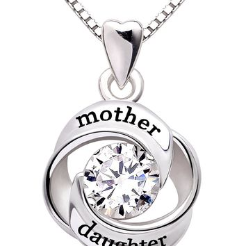 Jewelry Sterling Silver mother and daughter Love Cubic Zirconia Pendant Necklace