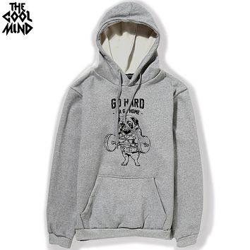 Cotton blend pug go home or go hard printed men hoodies with hat thick fabric autumn winter fleece men sweatshirts