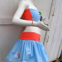 MY LITTLE PONY set Skirt and bow top Rainbow Dash MLP FiM Cosplay
