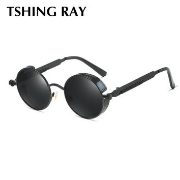 TSHING RAY Vintage Gothic Round Steampunk Sunglasses Men Women Fashion Mirrored Sun Glasses For male female