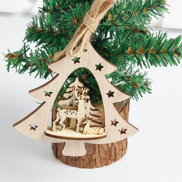 Wood Pendant Embellishments Rustic Christmas Tree Hanging Ornament Santa Claus Deer Pattern New Year Decor #TH