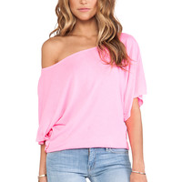 Michael Stars Off the Shoulder Dolman Tee in Blinding Pink from REVOLVEclothing.com