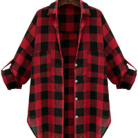 Red and Black Plaid Half Sleeve Top with Pocket