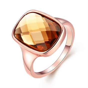 Cushion Topaz 18k Rose Gold Plated Ring