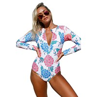 Pink Blue Peony Zip Front Long Sleeve One Piece Swimsuit