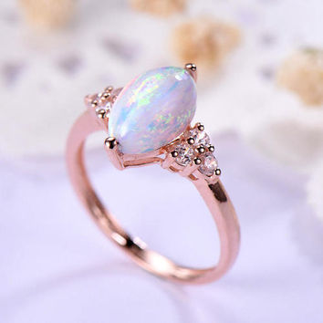 opal engagement ring rose gold 14k/18k flower design or 925 sterling silver with Man made CZ diamond